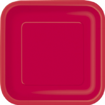 "Square Red Plates - 9"" Square Plates (14pcs)"